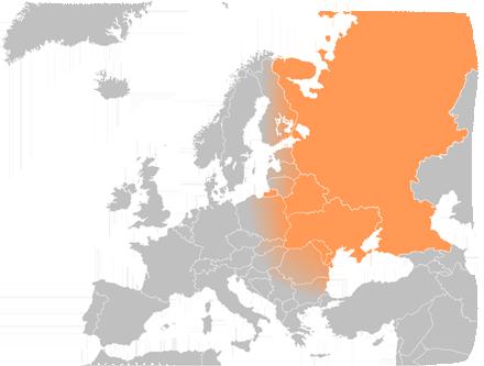 Europa wschodnia mapa zakresu działania